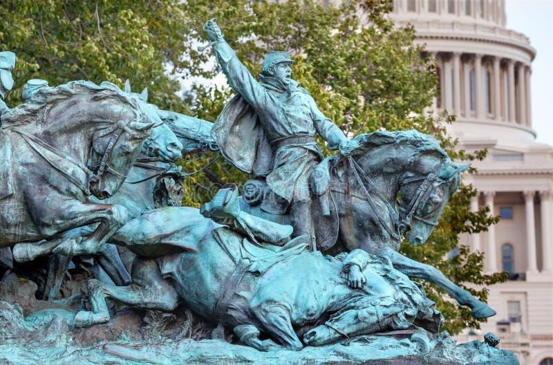 Monumento de guerra civil de la estatua de los E.E.U.U. Grant de la carga del Calvary Capitol Hill W imagen de archivo
