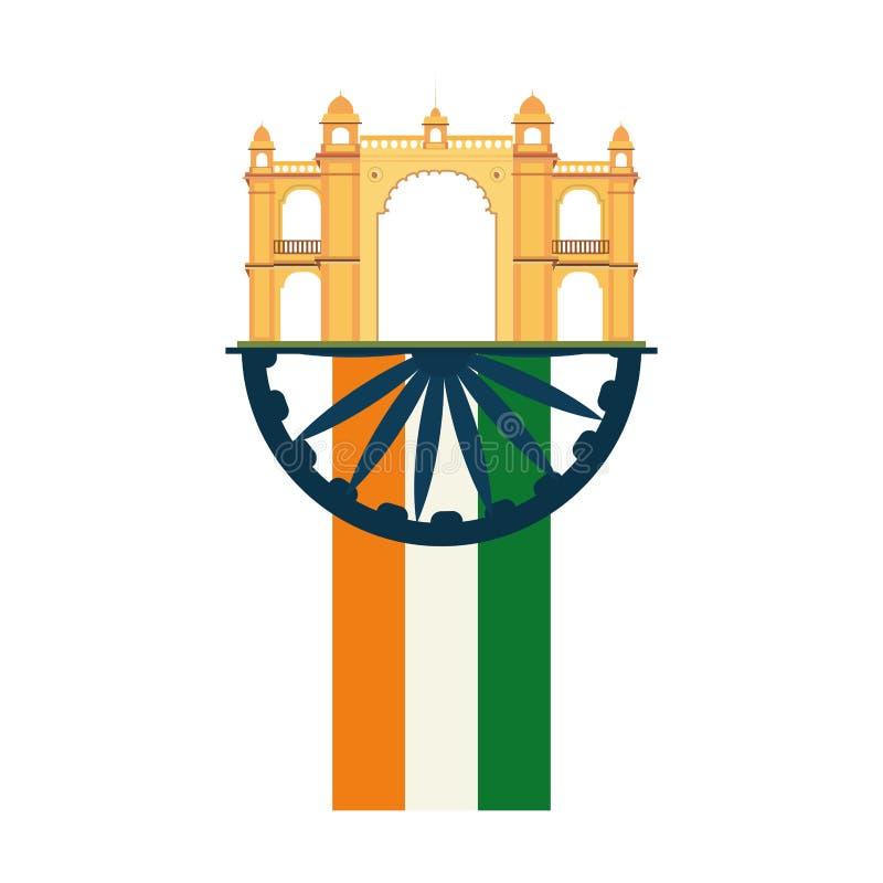 Monumento de india da bandeira da entrada de Mumbai ilustração do vetor