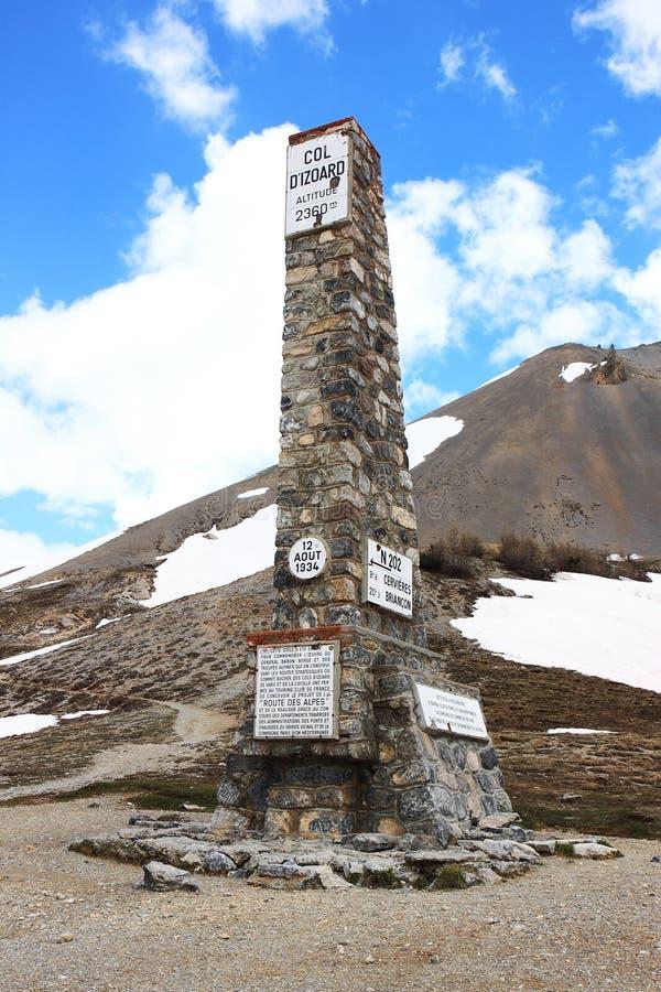 Monumento de Izoard do ` do colo d, parque natural de Queyras do francês imagem de stock