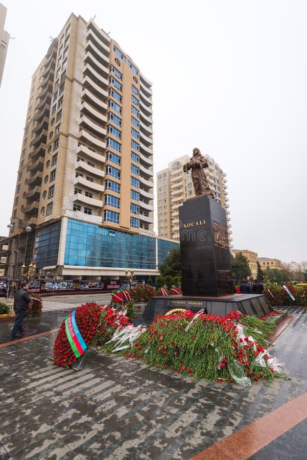 Monumento de Khojaly en la ciudad de Baku foto de archivo