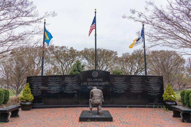 Monumento de la aplicación de ley de Delaware dedicado a los oficiales caidos imagen de archivo