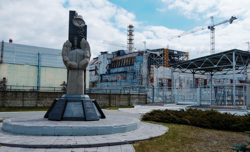 Monumento de la gente de muerte en la tragedia de Chernóbil, fondo fotos de archivo libres de regalías