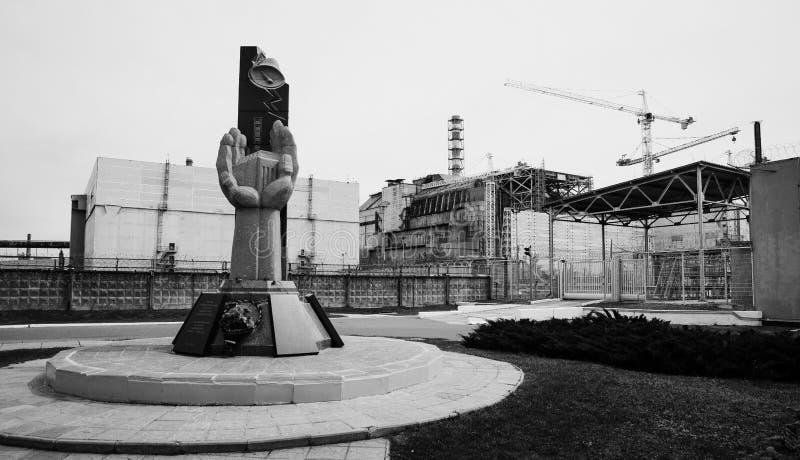 Monumento de la gente de muerte en la tragedia de Chernóbil, fondo imagen de archivo libre de regalías