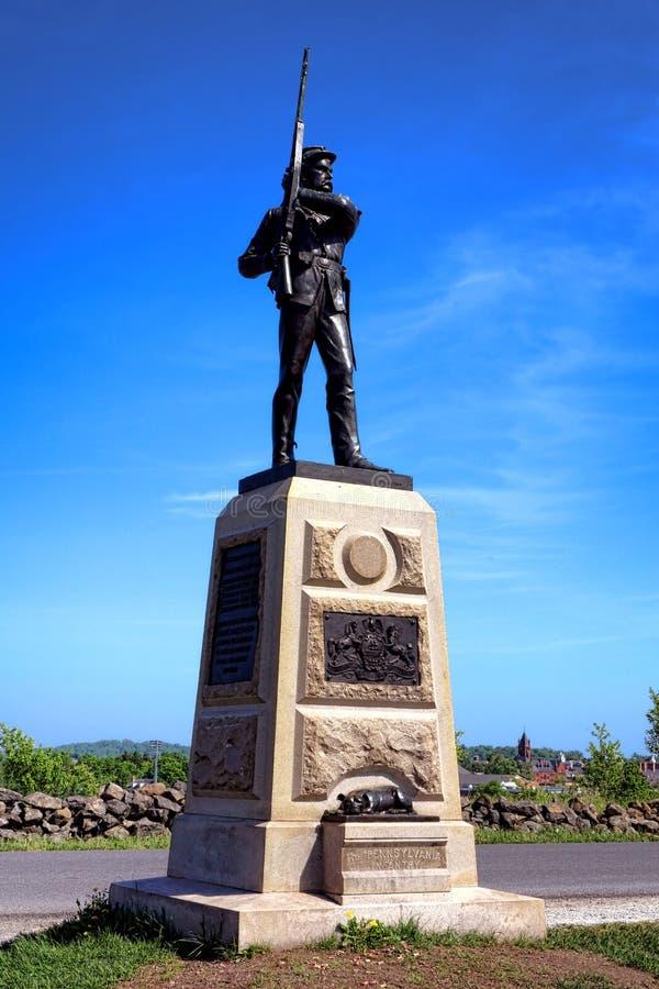 Monumento de la infantería de Pennsylvania del parque nacional de Gettysburg 11mo imagen de archivo libre de regalías