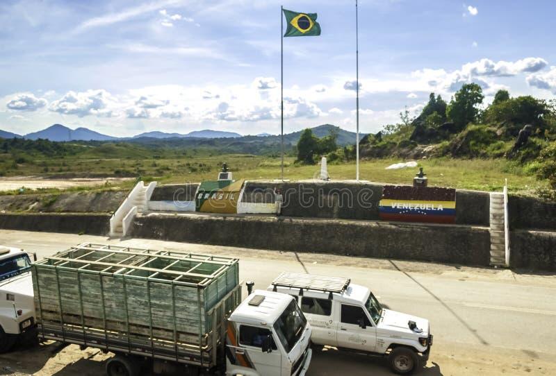 Monumento de las Banderas on Venezuelan-Brazilian Border, Guyana Upland, La Gran Sabana, Venezuela-Brazil. Border between Venezuela and Brazil on the road 10/174 stock photo