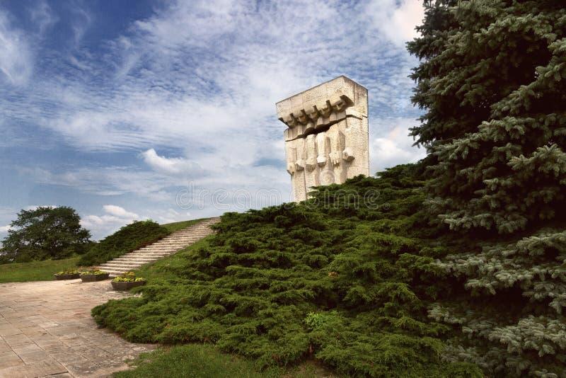 Monumento de las víctimas del fascismo en el campo de concentración alemán anterior Plaszow cerca de Kraków imagen de archivo