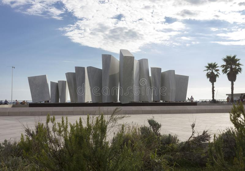 Monumento de Le Vele en Marina di Massa fotografía de archivo