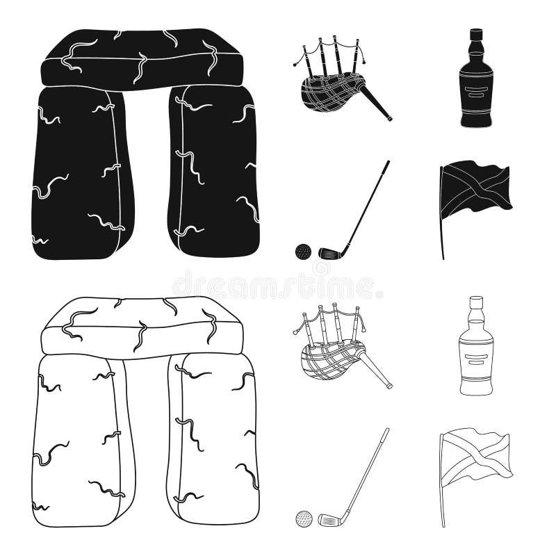 Monumento de piedra, gaita, whisky, golf Iconos determinados en negro, acción de la colección del país de Escocia del símbolo del ilustración del vector