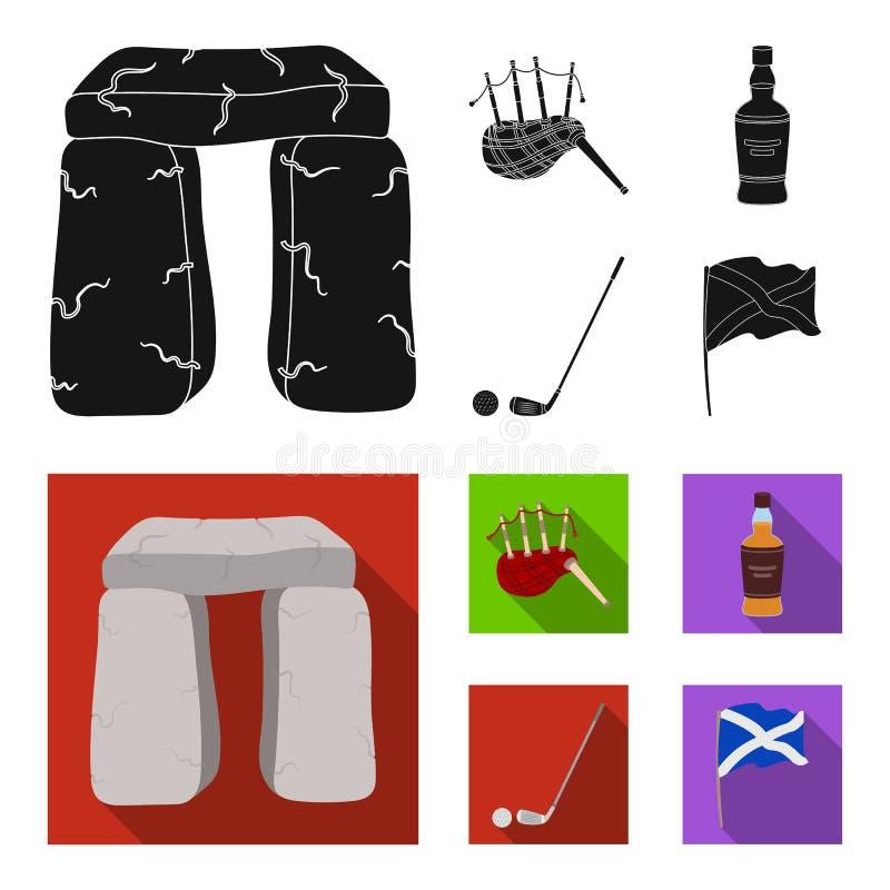 Monumento de piedra, gaita, whisky, golf Iconos determinados de la colección del país de Escocia en la acción negra, plana del sí stock de ilustración