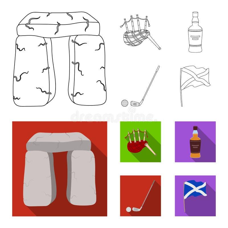 Monumento de piedra, gaita, whisky, golf Iconos determinados de la colección del país de Escocia en el esquema, acción plana del  ilustración del vector