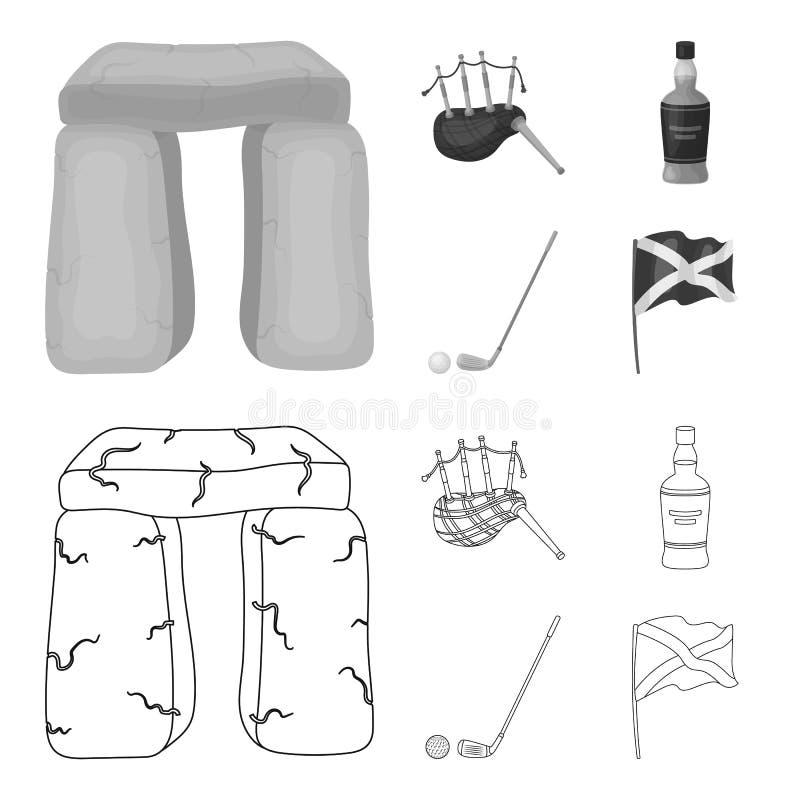 Monumento de piedra, gaita, whisky, golf Iconos determinados de la colección del país de Escocia en el esquema, símbolo monocromá libre illustration