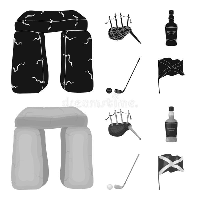 Monumento de piedra, gaita, whisky, golf Iconos determinados de la colección del país de Escocia en el negro, símbolo del vector  ilustración del vector