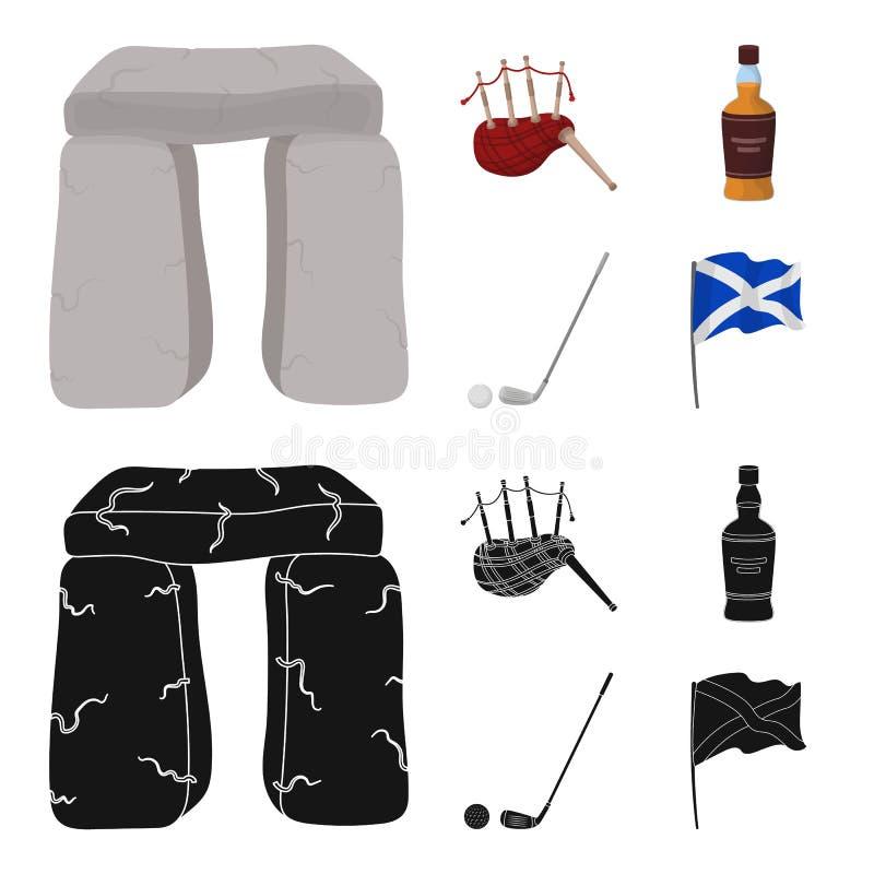 Monumento de piedra, gaita, whisky, golf Iconos determinados de la colección del país de Escocia en la historieta, acción negra d stock de ilustración