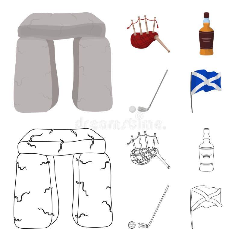 Monumento de piedra, gaita, whisky, golf Iconos determinados de la colección del país de Escocia en la historieta, símbolo del ve ilustración del vector