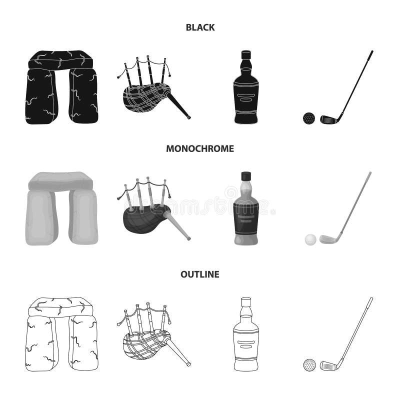 Monumento de piedra, gaita, whisky, golf Iconos determinados de la colección del país de Escocia en negro, monocromático, vector  ilustración del vector