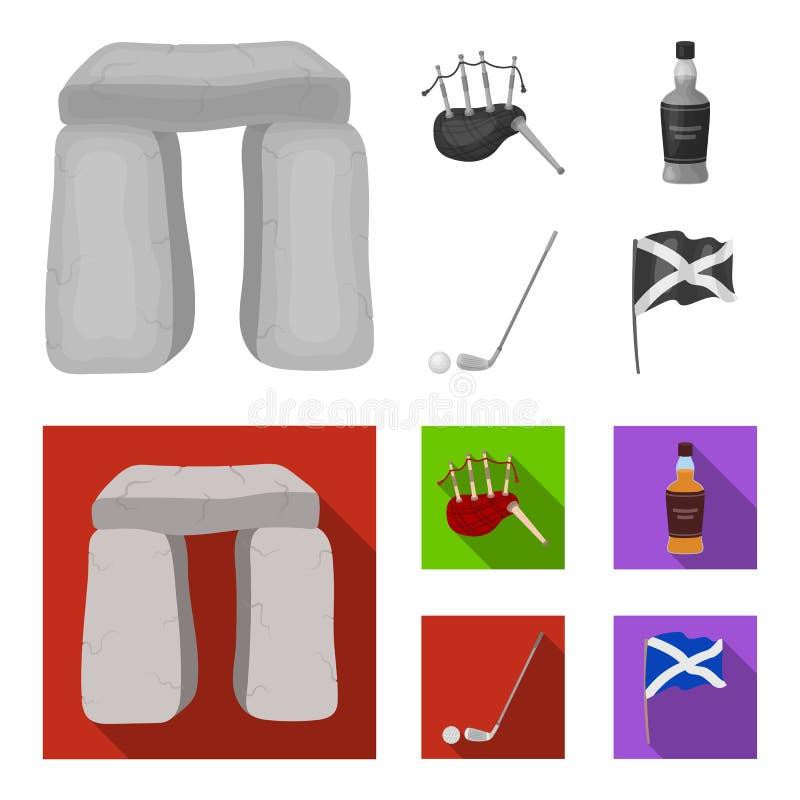 Monumento de piedra, gaita, whisky, golf Iconos determinados de la colección del país de Escocia en símbolo monocromático, plano  libre illustration