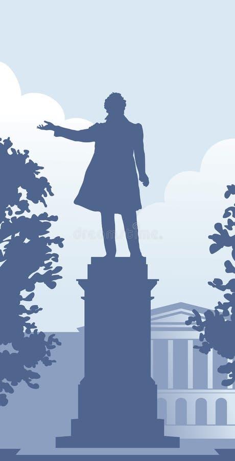 Monumento de Pushkin no St Petersburg ilustração stock