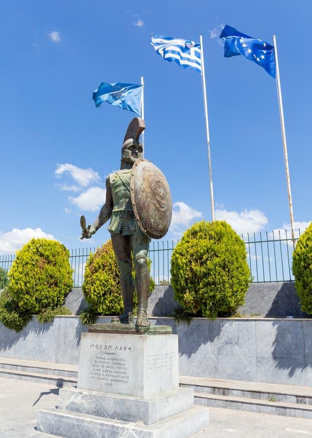 Monumento de rey Leonidas, Sparta, Grecia fotografía de archivo libre de regalías