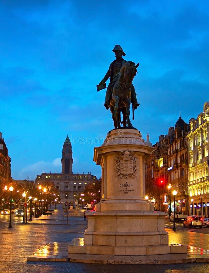 Monumento de rey Peter IV, Oporto imagen de archivo