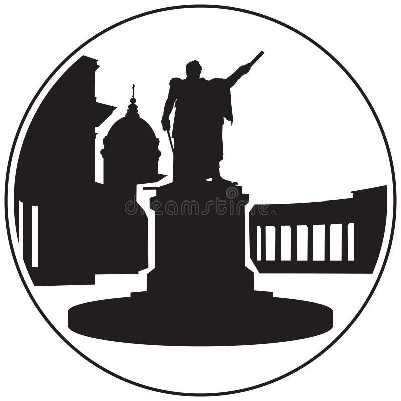 Monumento de St Petersburg Kutuzov cerca del icono del vector de la catedral de Kazán foto de archivo libre de regalías