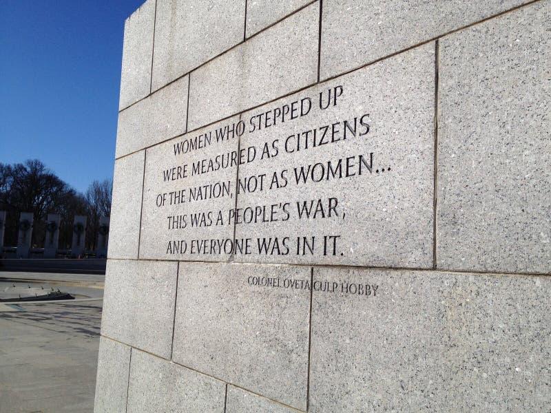 Monumento de WWII en Washington DC fotos de archivo