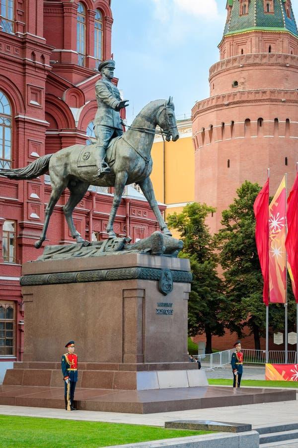 Monumento de Zhukov do marechal em Moscovo fotografia de stock
