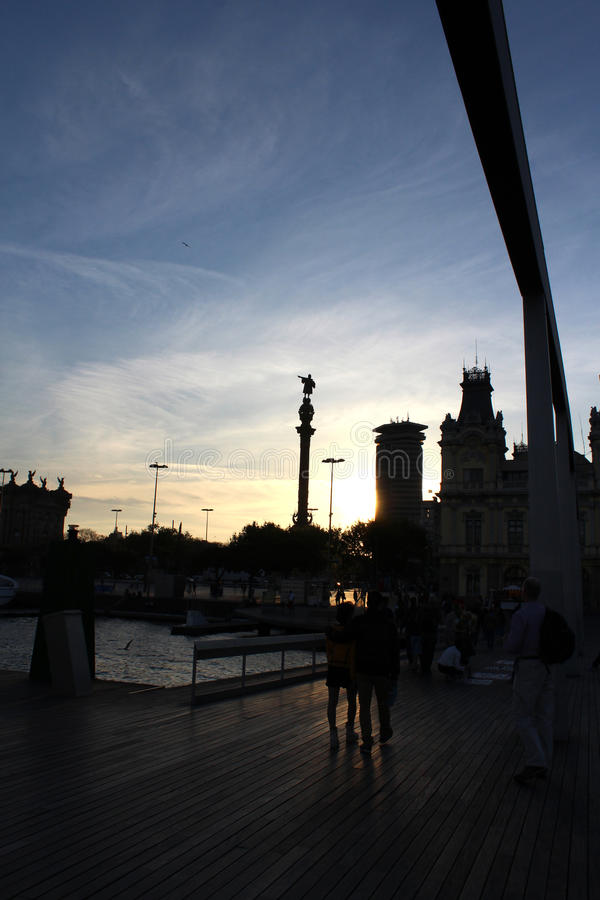 Monumento dei due punti di Barcellona, Cristoforo Colombo, Spagna immagine stock libera da diritti