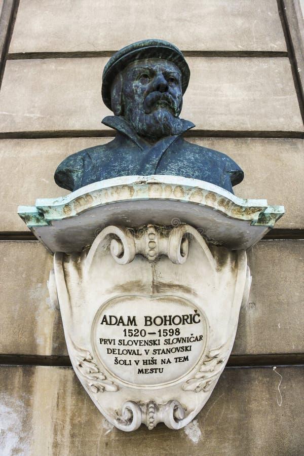 Monumento del busto del gramático protestante Adam Bohori fotos de archivo
