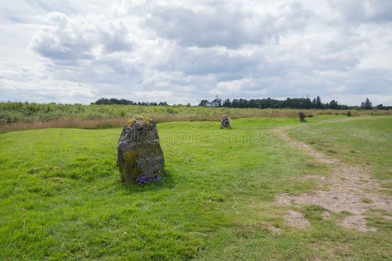 Monumento del campo de batalla de Culloden, Inverness, Escocia fotos de archivo