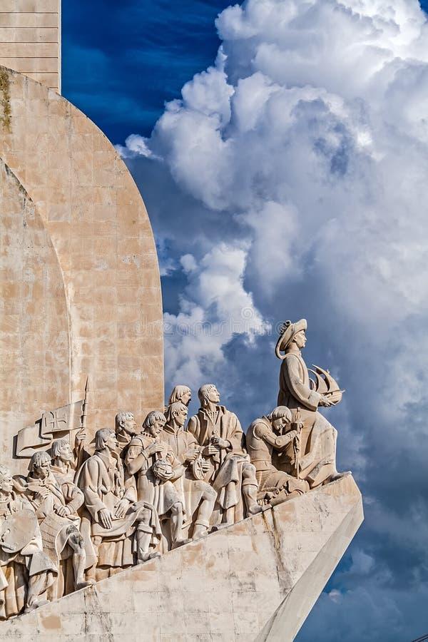 Monumento del DOS Descobrimentos de Lisboa, Portugal - de Padrao El monumento de los descubrimientos del mar foto de archivo libre de regalías