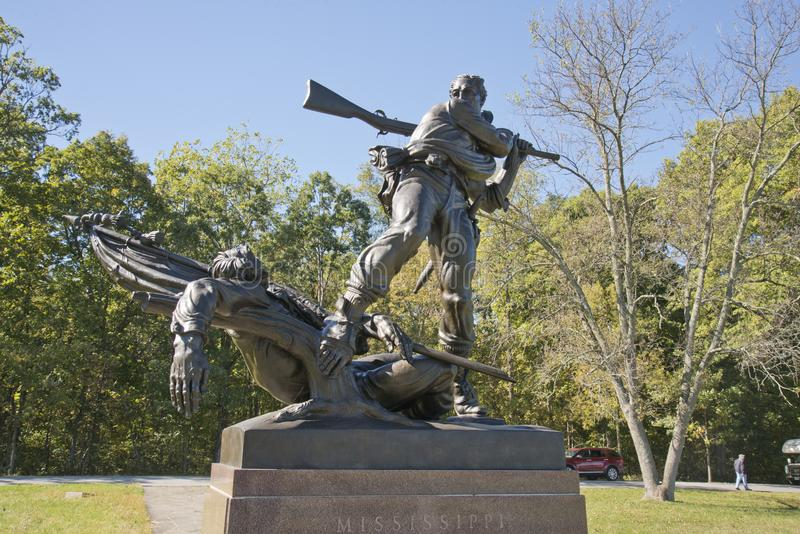 Monumento del estado de Mississippi para la batalla de Gettysburg imágenes de archivo libres de regalías