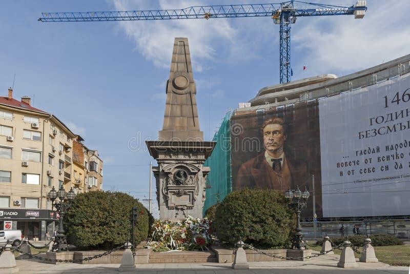 Monumento del héroe revolucionario y nacional búlgaro Vasil Levski en la ciudad de Sofía, Bulgari foto de archivo libre de regalías