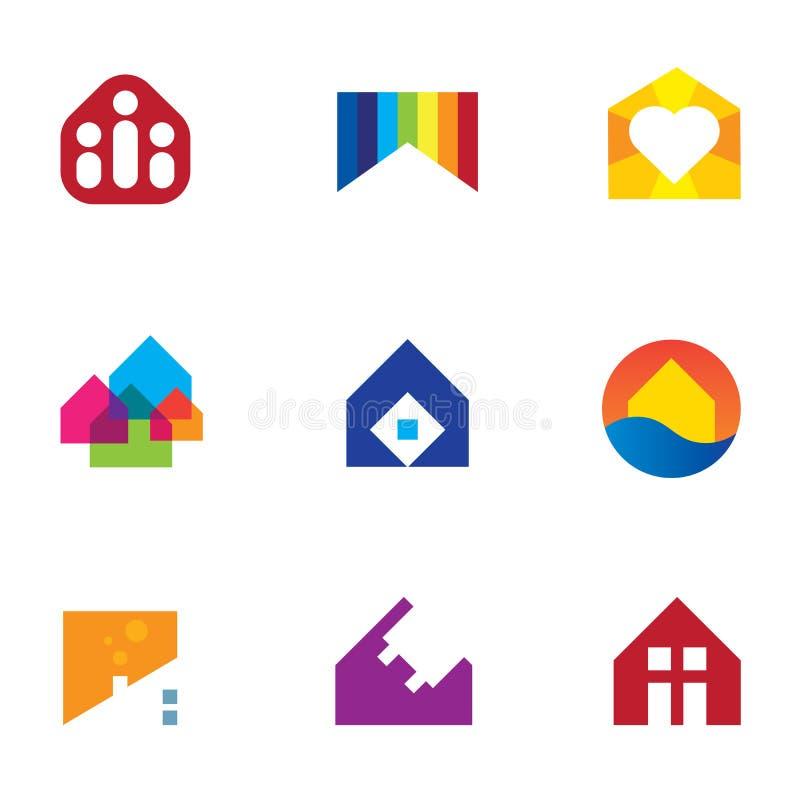 Monumento del hogar de la construcción de edificios de las propiedades inmobiliarias con el icono del logotipo de la pasión stock de ilustración