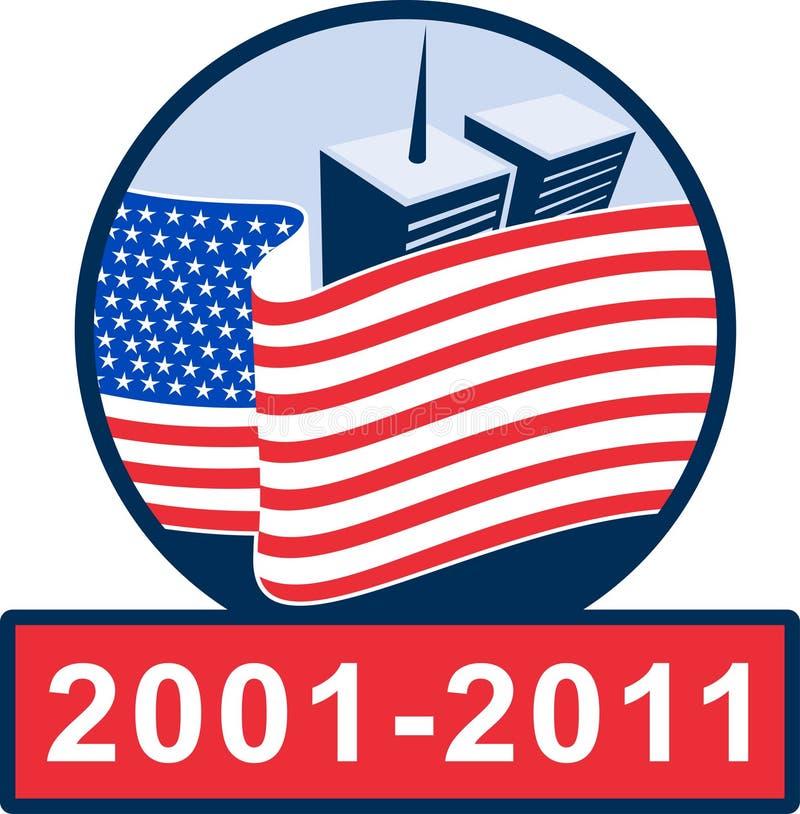 monumento del indicador americano 911 stock de ilustración