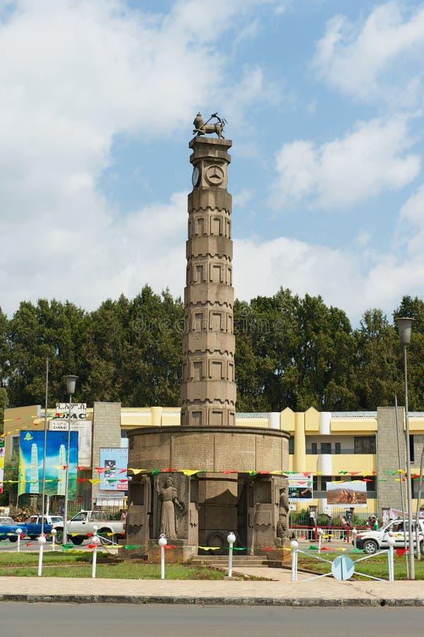 Monumento del kilo de Arat en el cuadrado de Meyazia 27 en Addis Ababa, Etiopía foto de archivo libre de regalías