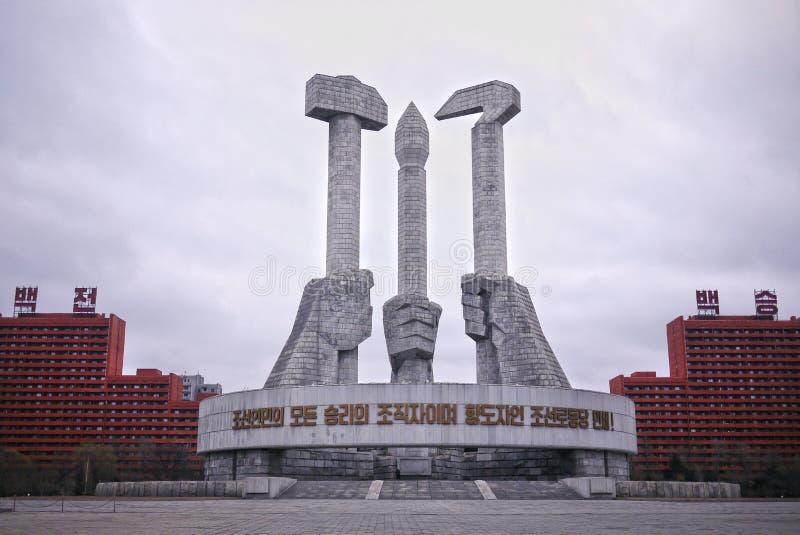 Monumento del partido del ` s del trabajador de Corea del Norte  fotografía de archivo