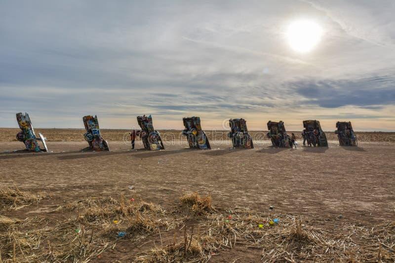 Monumento del rancho de Cadillac en Amarillo, TX imagen de archivo