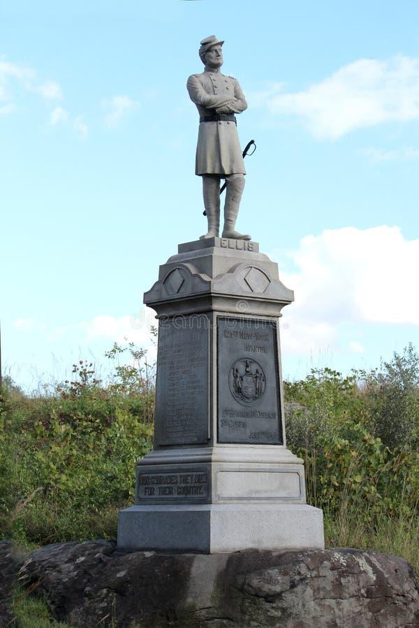 Monumento del reggimento di fanteria del volontario di Gettysburg - 124th New York fotografia stock