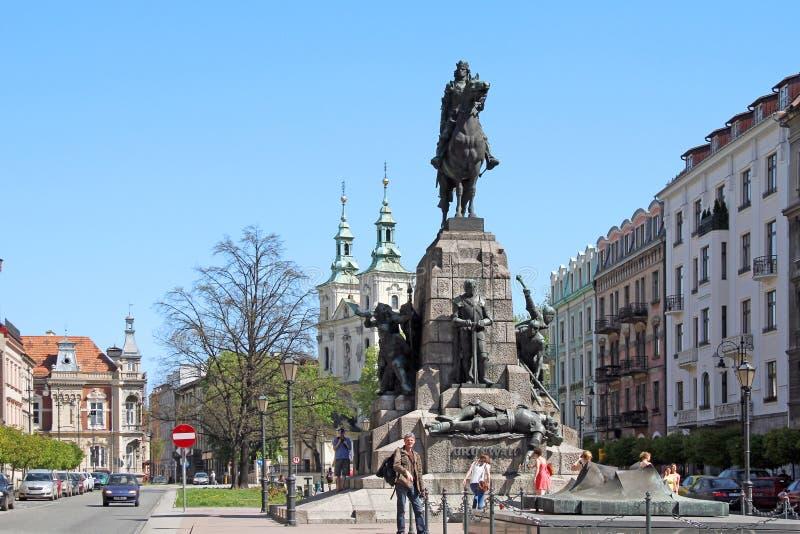 Monumento della battaglia di Grunwald a Cracovia, Polonia immagine stock libera da diritti