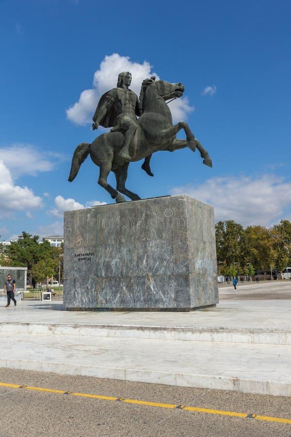 Monumento di Alessandro Magno in città di Salonicco, Macedonia centrale, Grecia fotografie stock