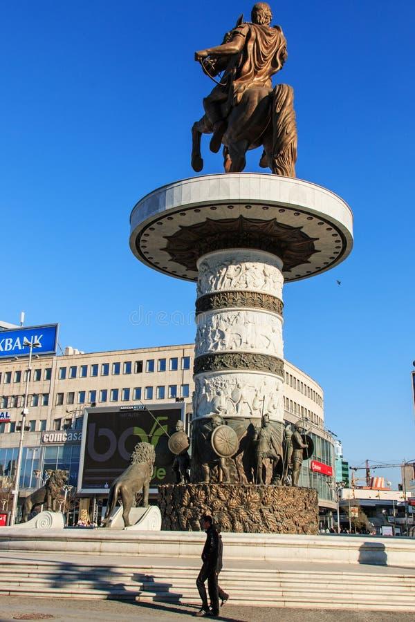 Monumento di Alexander The Great a Skopje immagine stock