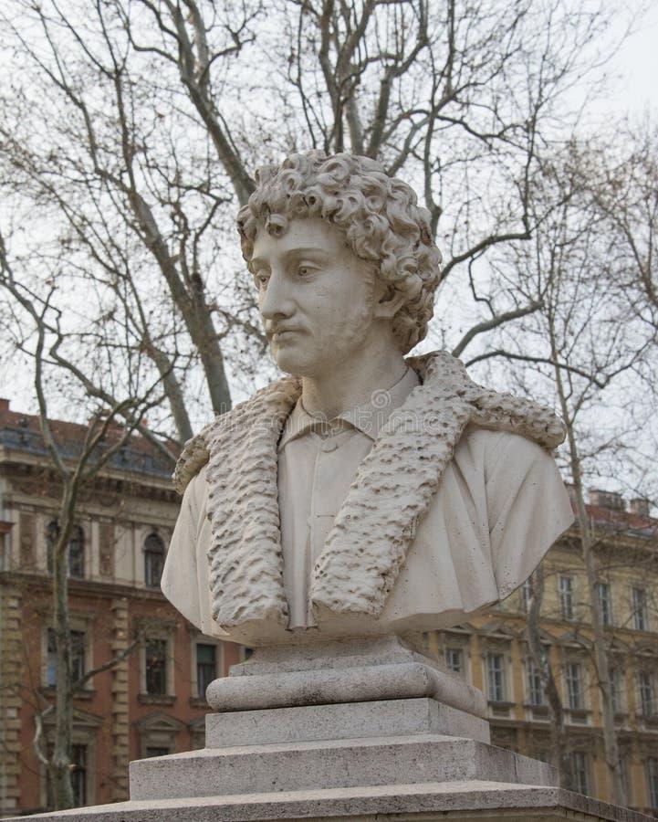 Monumento di Andrea Schiavone a Zagabria fotografia stock