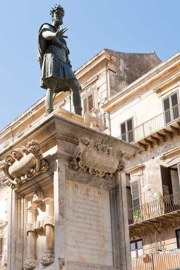 Monumento di Charles V, Sicilia, Palermo immagine stock