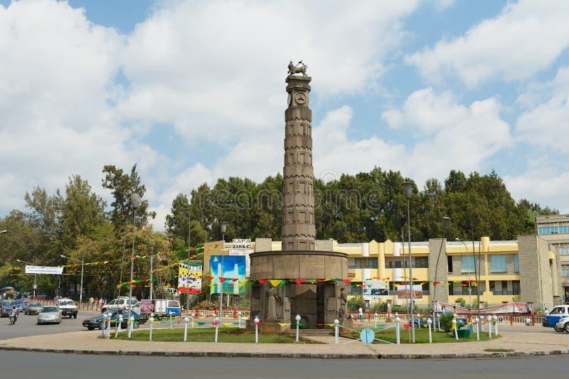 Monumento di chilo di Arat al quadrato di Meyazia 27 in Addis Ababa, Etiopia fotografia stock libera da diritti