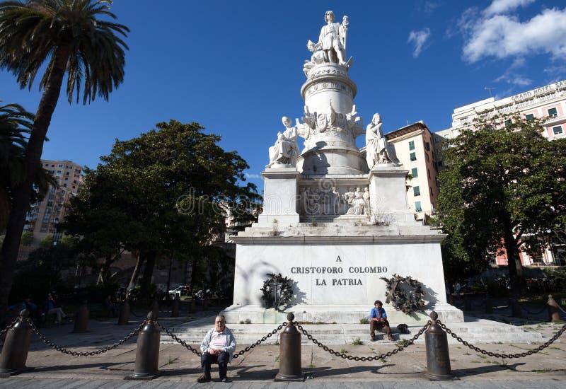 Monumento di Christopher Columbus a Genova, Italia immagine stock
