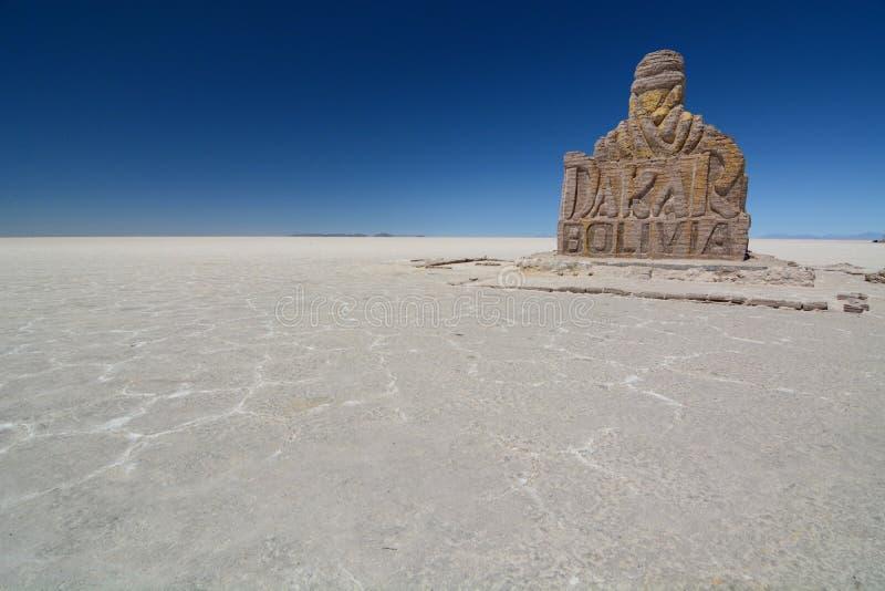 Monumento di Dakar Salar de Uyuni Dipartimento di Potosà bolivia fotografia stock libera da diritti