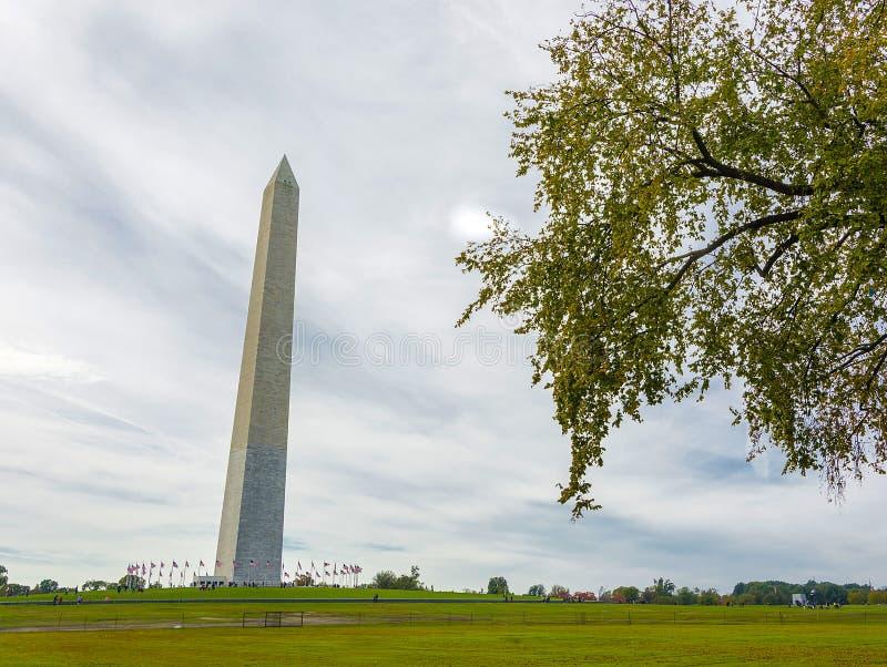 Monumento di George Washington con gli alberi immagini stock