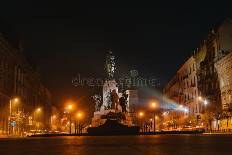 Monumento di Grunwald a Cracovia, Polonia immagini stock