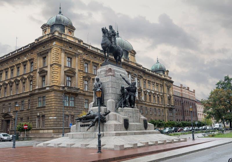 Monumento di Grunwald nel quadrato Cracovia - Polonia di Matejki immagini stock