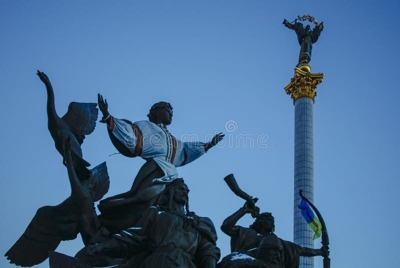 Monumento di indipendenza a Kiev, Ucraina, giorno fotografie stock libere da diritti